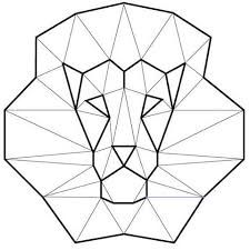 Image result for simple geometric lion black and white