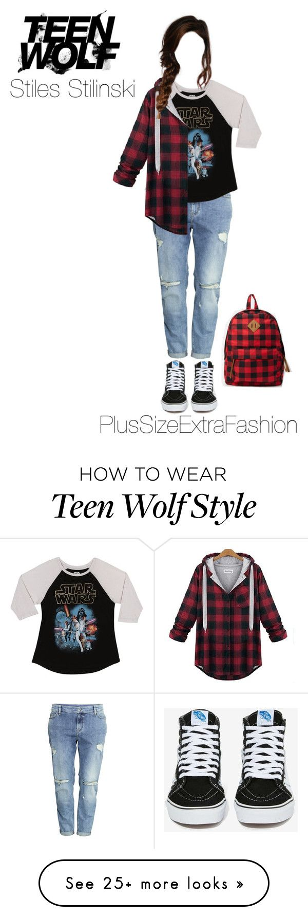 """Stiles Inspired Plus Size Casual Outfit: Teen Wolf"" by plussizeextrafashion on Polyvore featuring H&M, Vans and Forever 21"