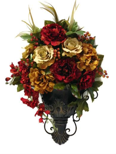 Traditional Wall Sconce Pocket Silk Floral Arrangement Peony Hydrangea Berry Rose Home Decor