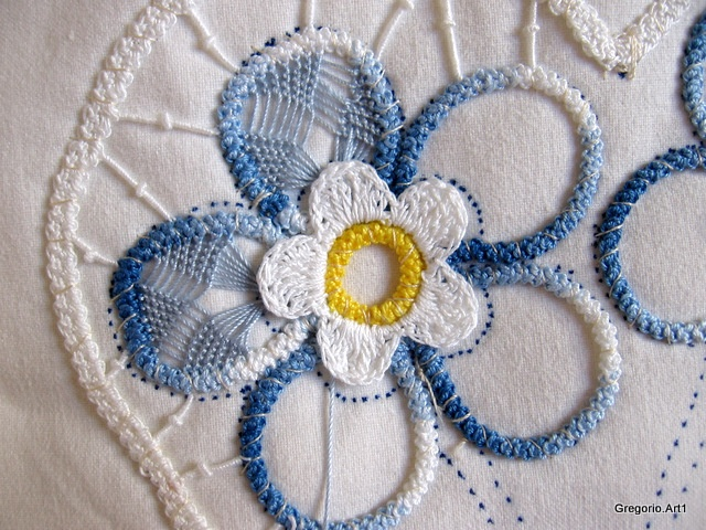 MACRAME 'ROMANIAN - POINT LACE in progress....this is not macrame....the cord outlines are crocheted then the filling stitches as in the blue petals is done with a needle, similar to the filling stitches of battenburg lace but more elaborate.