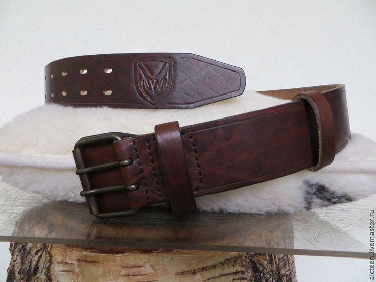 Купить Широкий кожаный мужской ремень 5см - бордовый, кожаный ремень, мужской ремень