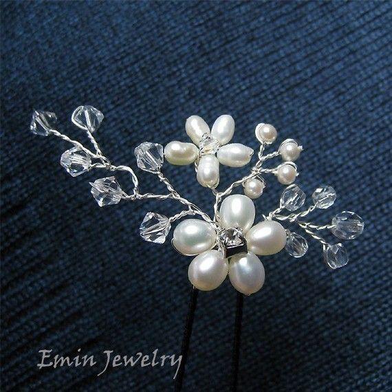 3 Bridal Hair Pins Set Wedding Hair Accessories por adriajewelry