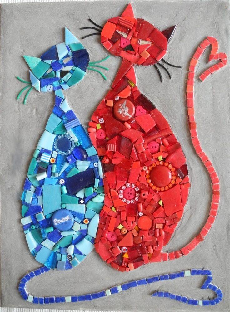 cute mosaic cats    #design #mosaic