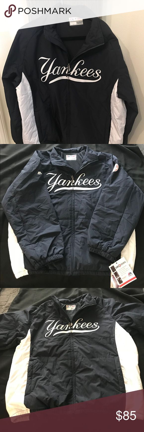 Majestic MLB Authentic New York Yankees Jacket New with tags officially licensed Majestic MLB Collection New York Yankees Jacket. One of the tags is the numbered and hologram seal showing authentic and the same jackets worn on field by MLB players. This Jacket is a zip up front with the double climate lining   Feel free to ask any questions Majestic Other