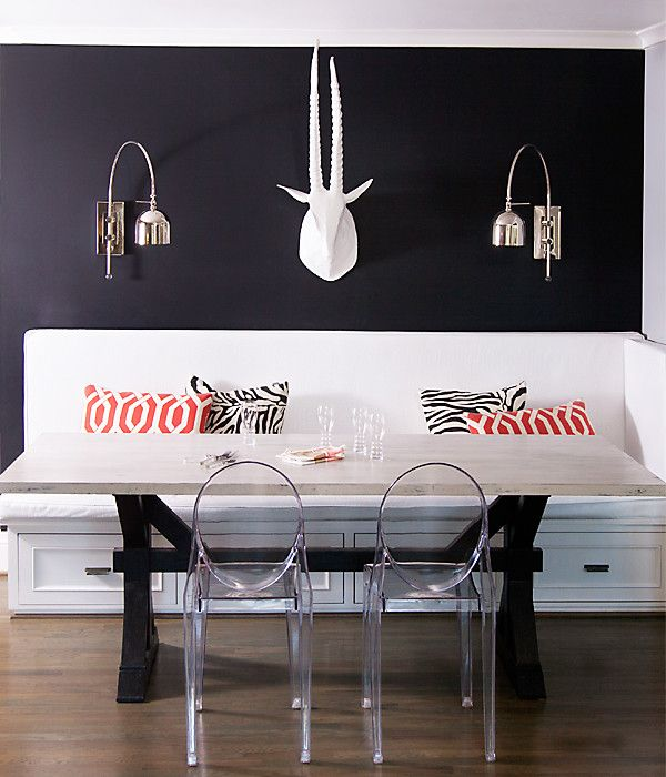 Black walls make white upholstery pop. Breakfast room by lisa sherry interieurs