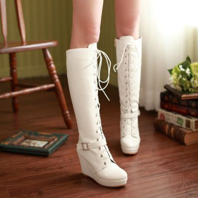 Plus Size Wedge Biker Women Boots 2015 Winter Fashion Quality Customized Bandage Personality New Small Fresh Spring Autumn