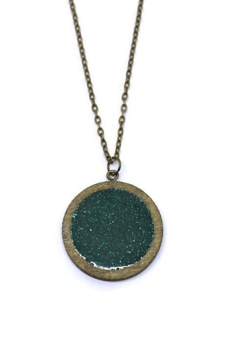 Circle Laser Cut Wood Necklace with Green Glitter Resin Fill - Wood Frame Necklace - Wood Pendant Necklace - Green Glitter - Wood Jewelry