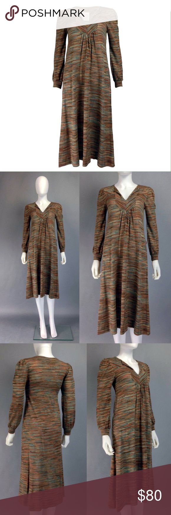 """VINTAGE 70s KNIT MARLED WOOL DRESS by TRISHA SAYAD FEATURES: •Marled 100% wool knit in a gorgeous color scheme of browns & multi colors  •Accented v-neck w foldover collar •Slim A-line cut •Long pouf sleeves •Ruched front •Belt loops for optional belt •Pullover style •A Trisha Sayad creation: The Willis Avenue Bridge Works  CONDITION: Awesome piece in excellent vintage condition  SIZING: Best estimated fit:XS/S  MEASUREMENTS: •Shoulders:14"""" •Bust:32-36"""" (stretchy) •Waist:Free (can be cinched…"""