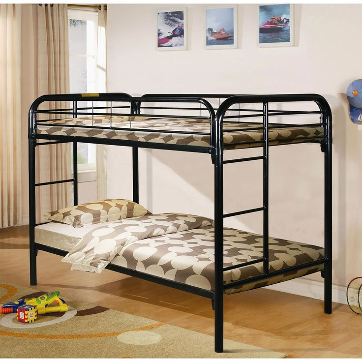 Donco Kids Modern Metal Twin Bunk Bed (Gloss Black)
