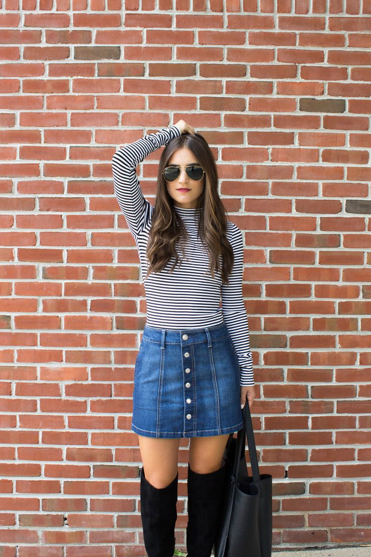 How to style button down denim skirt with lana Jayne