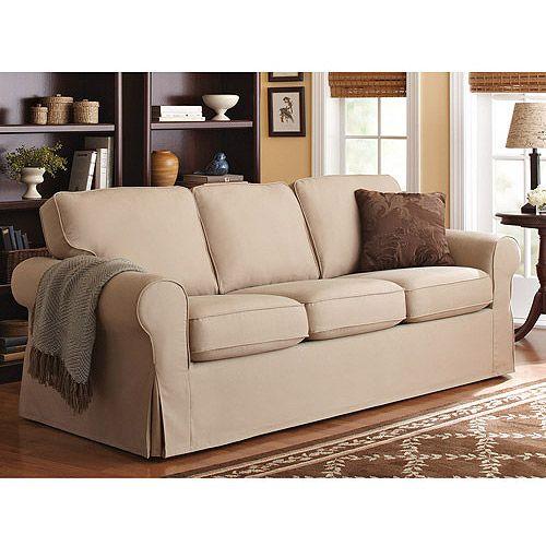 Better homes and gardens beige slipcover sofa for the for Beige slipcover sofa