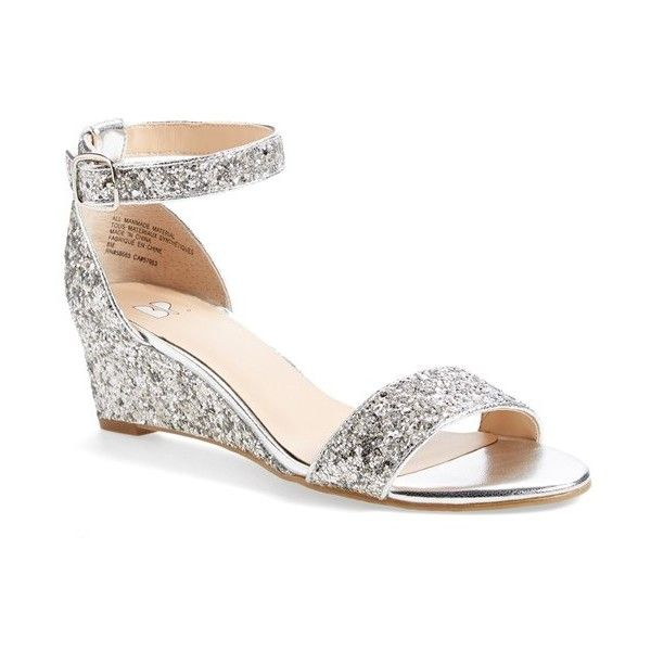 "BP. 'Roxie' Wedge Sandal, 2 1/2"" heel ($60) ❤ liked on Polyvore featuring shoes, sandals, silver glitter, glitter sandals, silver wedge sandals, ankle strap wedge sandals, ankle wrap wedge sandals and wedges shoes"