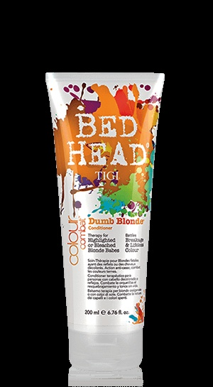 Bed Head by TIGI, Dumb Blonde, this is the best conditioner if you have highlighted, bleached or color treated hair! I could not live without this! It is not just for blondes.