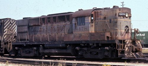 """UNIT: 8478 SERIES: unavail. MODEL: RS-10 SERIAL #: 81067 BUILDER: MLW CLASS: DRS-16c BUILT: 1955 REBUILT: unavail. ENGINE: 12-244 CTE: 47000 WHEELS: B-B WEIGHT: 261000 H.P.: 1600 SPEED: 75 LENGTH: 53' 1"""" COMMENTS: Retired in 1982 in this paint"""