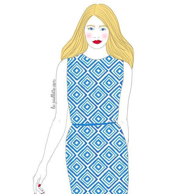 illustration drawing dessin Fashion  mode style robe bleue motif blonde top model