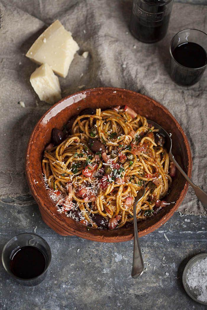 Spaghetti puttanesca. One of my favorite Italian pasta dish!