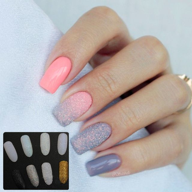 8Pcs/Set Holographic Glitter Powder Shining Sugar Glitter Dust Powder Manicure Nail Art Glitter Sets 8 Colors