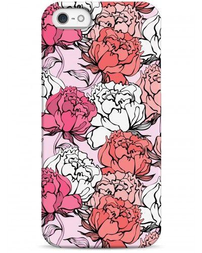 Чехол силиконовый с индивидуальным дизайном «Пионы и сирень» для iPhone