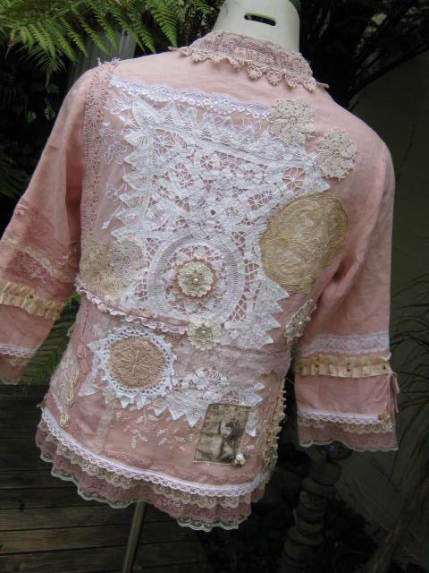 Stunning upcycled doilies linens laces jacket