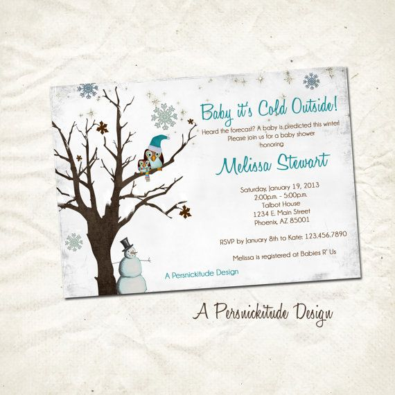 Winter Snowflake Baby Shower Invitation Print By Persnickitude, $12.00