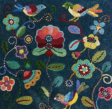 This is a handhooked rug. LOVE the colors, so rich and some of them almost glow against the background! This is from Susan Quicksall, owner of Holly Hill Designs website and hooked by Jennifer Pass.