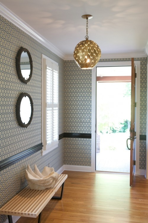 pendant, hexagonal wallpaper, mirrors. #entry: Garrett Design, Idea, Lights Fixtures, Eclectic Entry, Black Chairs, Pendants Lights, David Hicks, Paintings Chairs, Heather Garrett