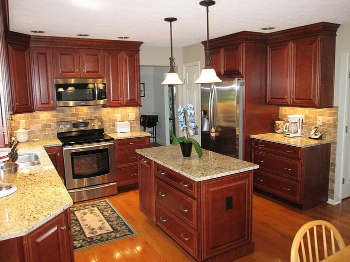 Awesome Dark Wood Cabinets Small Kitchen