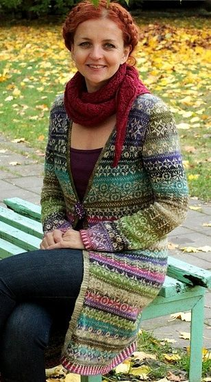 "INSPIRATION ~ This beautiful long line stranded cardigan made by Virginija Sankalienė and you can click thru to the Flikr site where this is featured. Virginija says "" I took most of (the) motives from the book Latviesu Rakstaine Cimdi and improvised."" Exquisite!"