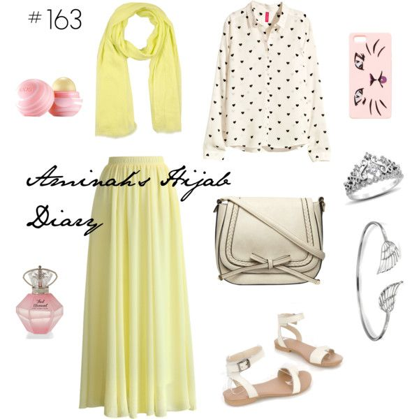 Yellow skirt, polkadot shirt, yellow scarf, white sandals, silver bracelet, silver crown ring, perfume