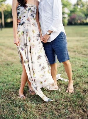 We love this long floral engagement dress   | photography by http://stevesteinhardt.com/