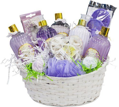 Lavender Gift Basket Luxurious Lavender Spa Gift Basket - Organic Stores by Organic Stores, Inc.. $54.97. This luxurious lavender spa gift basket truly is one of a kind and it will blow her away! This 11 item women's gift basket comes stuffed to the brim with exactly what she needs for an unforgettable spa experience right at home. This lavender gift basket includes lavender scented hand wash, lavender scented hand lotion, lavender scented tea-light candles, laven...