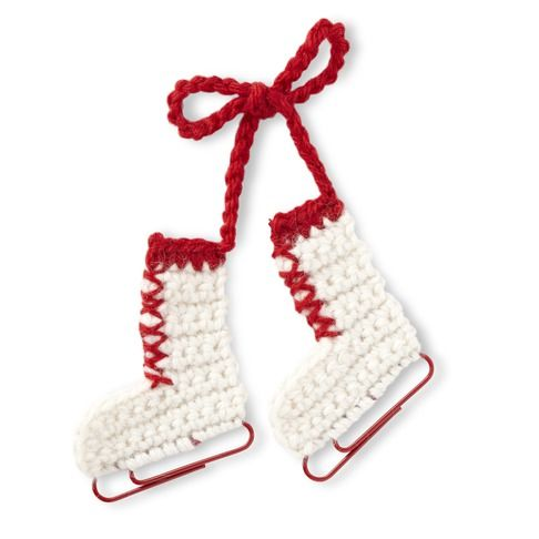 Crochet Ornaments - Patterns for Crocheting Christmas Ornaments - Woman's Day  These crocheted ice skates are adorable. They use paper clips for blades. So great