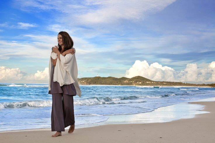 Bodypeace bamboo clothing fashion in byron bay. palazzo pants in charcoal, wrap in cream. Elegant and comfortable bamboo clothing. www.bodypeacebamboo.com