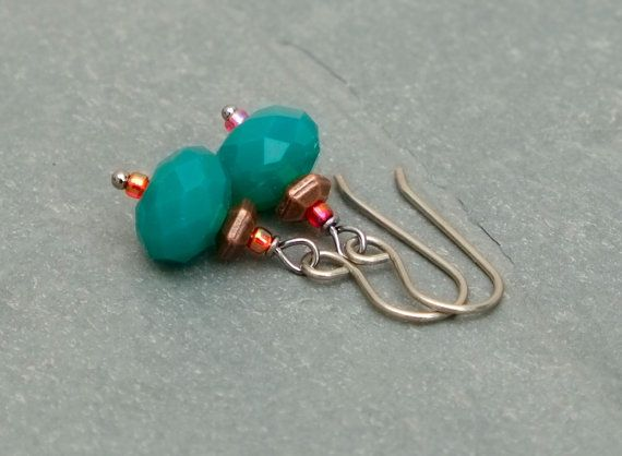 Teal earrings: Czech glass with titanium ear wires by BijoubeadsLondon