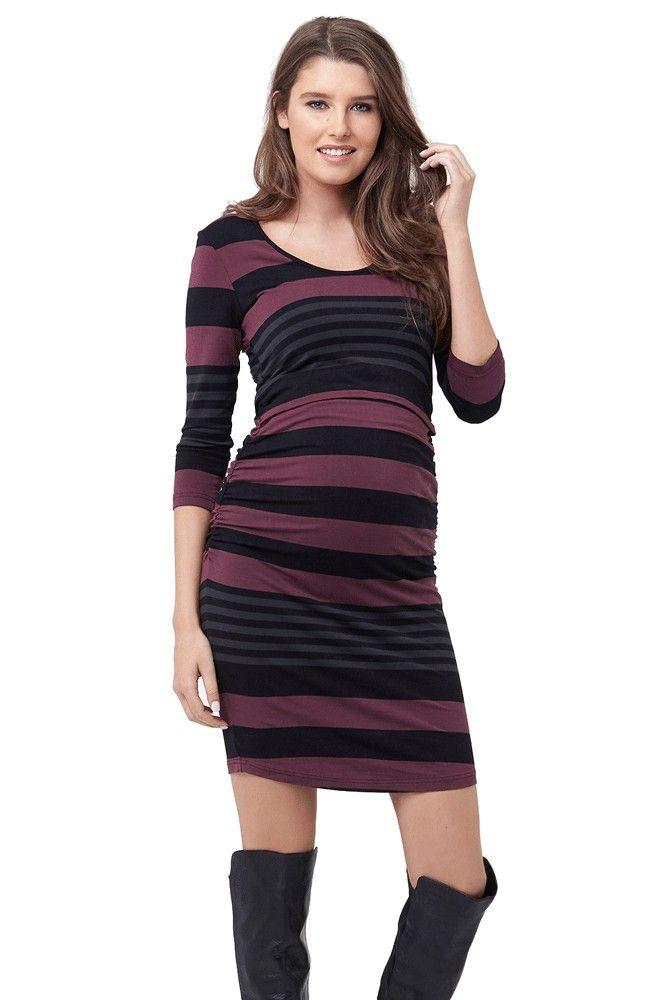 d61616496d Vanna Long Sleeve Maternity   Nursing Tube Dress (Plum Black)