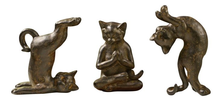 Playful Kitty Cats Figurines Set of 3 Antiqued Brown Tabletop Decor | eBay