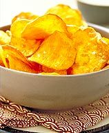 Homemade baked chips. Should really make some since I always seem to have extra potatoes in the bag that I can't use.