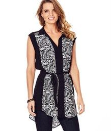 EXTENDED SLEEVE PRINT TUNIC