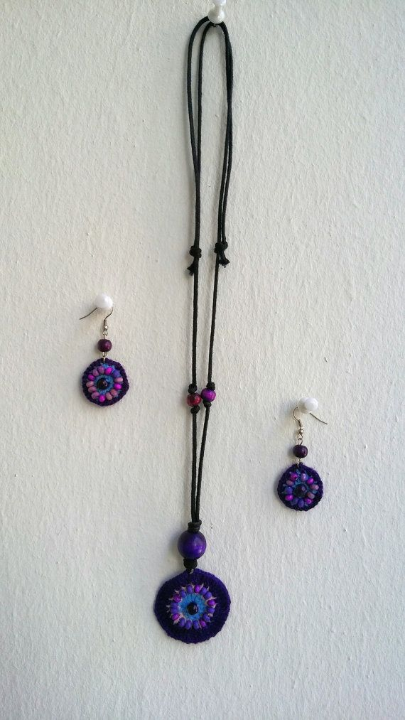 Hand knitted purple necklace-earring set Stylish by KirkeCraft