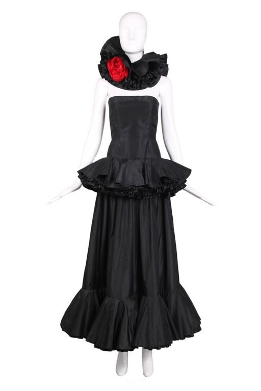 Lanvin Demi-Couture Black Silk Taffeta Strapless Gown W/Rose Neck Piece Ca.1979