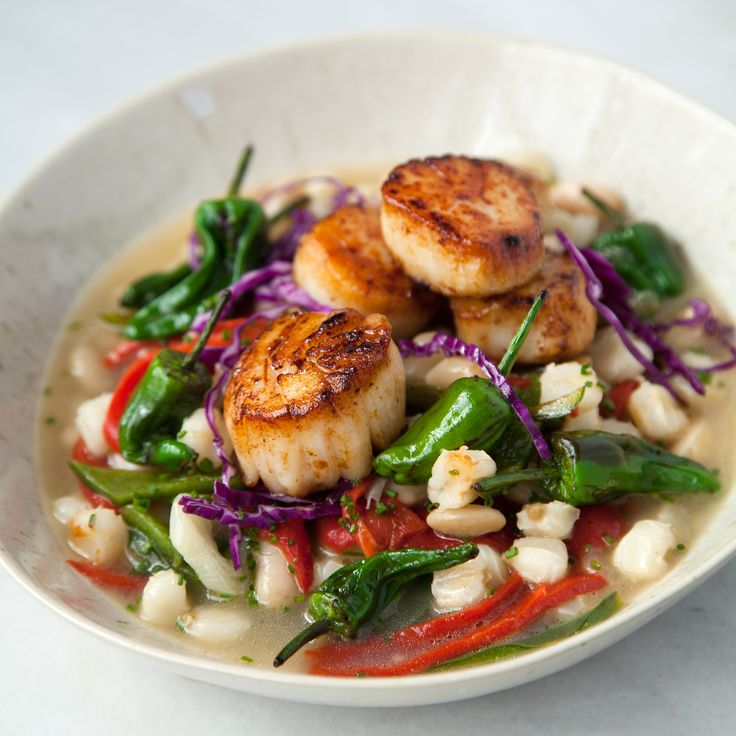 Hominy with Blistered Padron Peppers and Seared Scallops | Food & Wine