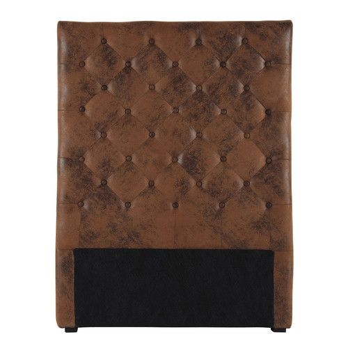 Imitation leather button headboard in brown W 90cm