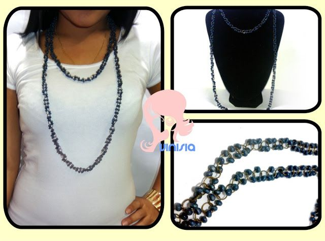 Belanja Aksesoris Wanita Online: Kalung Manik Biru [KG 010] │vinisia aksesoris wanita
