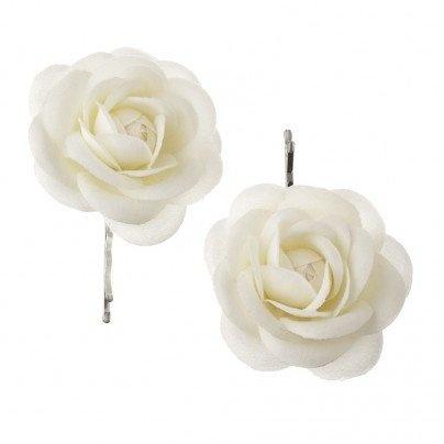 white rose hair clips