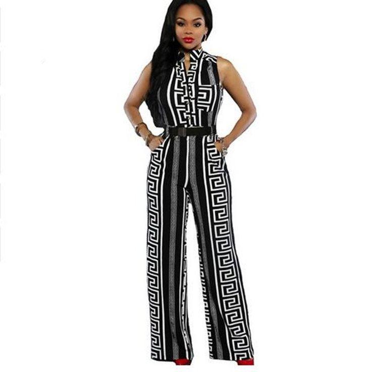 Dmart7deal Major Suit Overalls Fashion Women Black White Sleeveless Stripe Print V Neck Long Jumpsuit With Belt Plus Size Wide Leg Playsuit