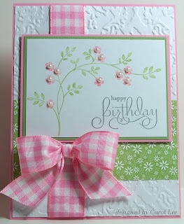 spring birthday card with flowers and pink gingham bow