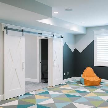 Contemporary Basement Playroom with Barn Doors