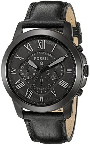 SALE PRICE  $116.99 - Fashionable take on wearable tech-round 44 mm case in black stainless steel featuring black guilloche dial with Roman numeral indices, three chronograph subdials, and a leather band with tonal topstitching and buckle closure Compatible with all Fossil brand 22mm straps Compatible with Android and iOS operating systems