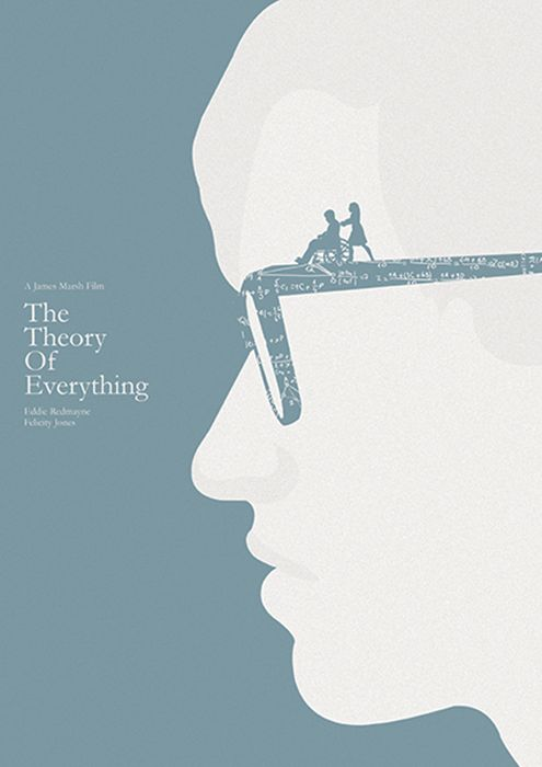 I like this simple poster. Although it only has two colours, it shapes the image. This is a small movie poster. A man wears glasses and there is some formula in the glass. Besides, a girl pushes a man with a wheelchair. It contains lots of information and grape people's attention.