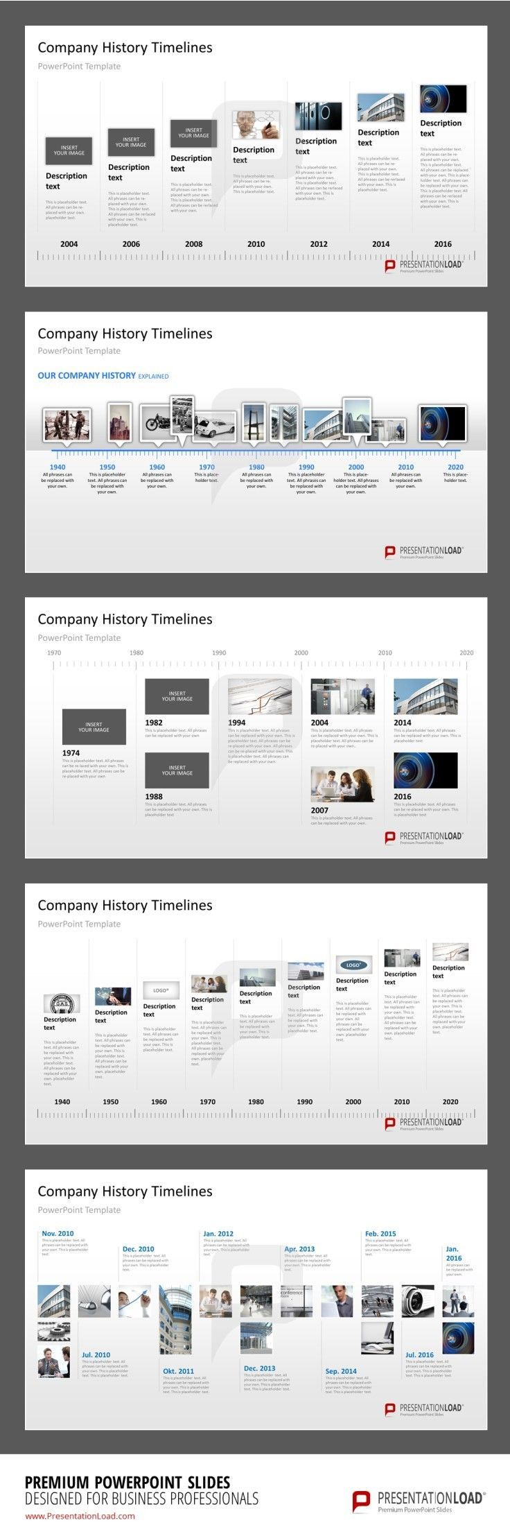 Company History Milestones in a Timeline PowerPoint Template  #presentationload…